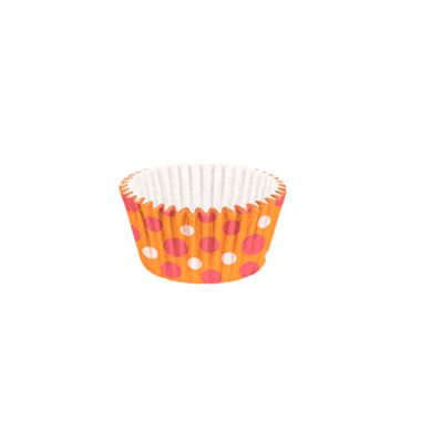 Forminha-Cupcake-Impermeavel---Poa-Laranja-Rosa---pacote-45-unidades