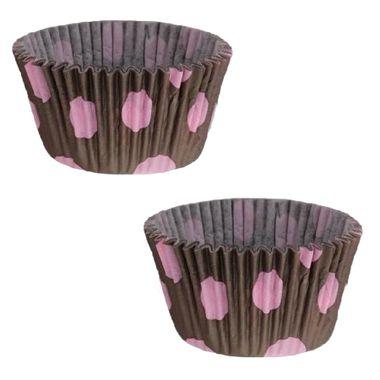 Forminha-Cupcake-Poa---Marrom-com-Rosa---pacote-45-unidades