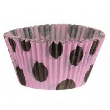 Forminha-Cupcake-Poa---Rosa-com-Marrom---pacote-45-unidades