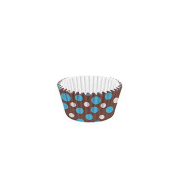 Forminha-Mini-Cupcake-Impermeavel---Poa-Azul-Marrom---pacote-45-unidades