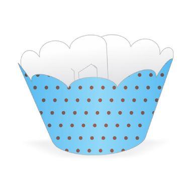 Cupcake-Wrapper-Poa---Saia-Cupcake---cor-AZUL-CLARO-com-MARROM---pacote-12-unidades