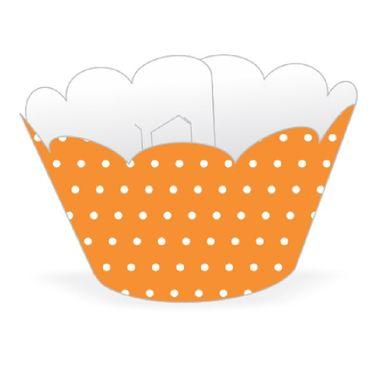 Cupcake-Wrapper-Poa---Saia-Cupcake---cor-LARANJA-com-BRANCO---pacote-12-unidades
