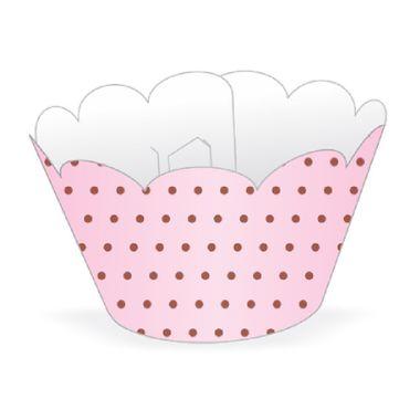 Cupcake-Wrapper-Poa---Saia-Cupcake---cor-ROSA-com-MARROM---pacote-12-unidades