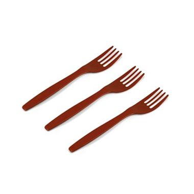 Garfo-Sobremesa-Kaixote---plastico---Marrom---pacote-50-unidades