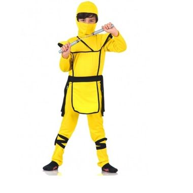 Fantasia-Ninja-Luxo---Amarela---Tamanho-G---Infantil---unidade