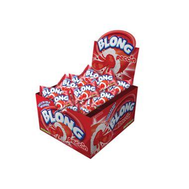 Chicle-de-Bola-Blong-Morango---Recheado----200-g---embalagem-40-unidades