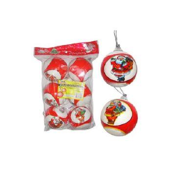 Bola-Natalina---Vermelha-com-Estampa-de-Papai-Noel---embalagem-6-unidade