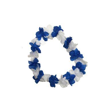 Colar-Havaiano-Bicolor---Tecido---Azul-e-Branco---unidade
