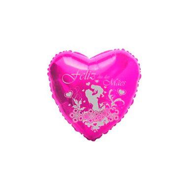 Balao-Coracao-Feliz-dia-das-Maes-Jardim-9----metalizado---Pink-com-escrita-prata---unidade