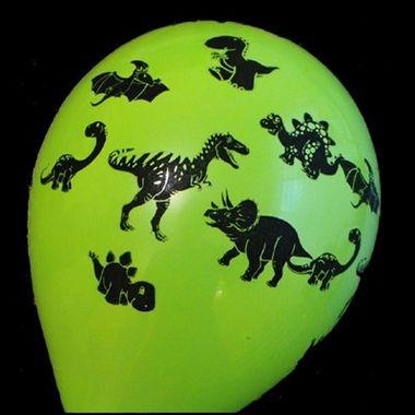 Balao-Dinossauros-10----Verde-com-Preto---Latex---pacote-25-unidades