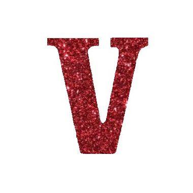 Letra-V-Glitter---e.v.a.---cor-Vermelha---unidade