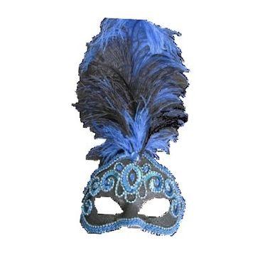 Mascara-Gala-Especial-Realeza---pedras-plumas-e-adornos---Azul-e-Preta---unidade