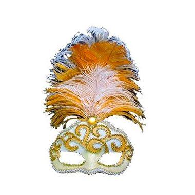 Mascara-Gala-Especial-Realeza---pedras-plumas-e-adornos---Branca-Amarela-e-Ouro---unidade