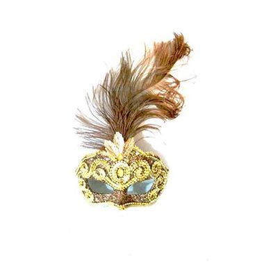Mascara-Gala-Especial-Realeza---pedras-plumas-e-adornos---Marrom-e-Ouro---unidade