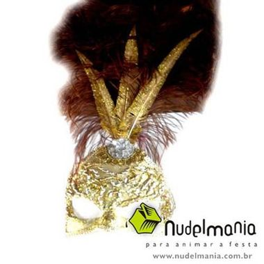 Mascara-Gala-Especial-Realeza---pedras-plumas-e-adornos---Ouro-e-Amarela---unidade