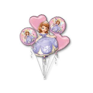 Balao-Princesinha-Sofia---Bouquet---metalizado---kit-5-baloes---embalagem