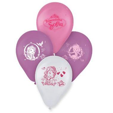 Balao-Princesinha-Sofia-9----Latex---Rosa-Branco-e-Lilas---pacote-25-unidades