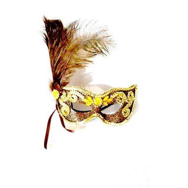Mascara-Gala-Imperial---pedras-plumas-e-adornos---Marrom-com-Ouro---unidade