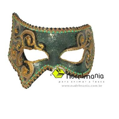 Mascara-Maurus---e.v.a.---pedras-e-adornos---Verde--Ouro---unidade