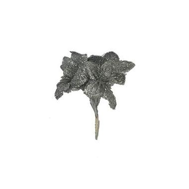 Pic-de-Natal-Flor-12-cm---Prata---unidade