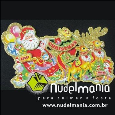 Placa-Decorativa-Treno-Natalino-3D-pequeno---Natal---cartonagem-e-glitter---unidade