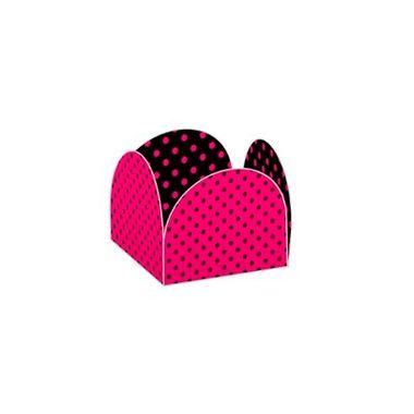 Porta-Forminha-Poa-Pink-e-Preto---Caixeta-Express---35-x-35-cm---pacote-50-unidades