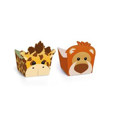 Porta-Forminha-Safari---Leao-e-Girafa---Mini-Cachepot---pacote-24-unidades