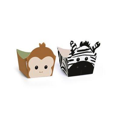 Porta-Forminha-Safari---Macaco-e-Zebra---Mini-Cachepot---pacote-24-unidades