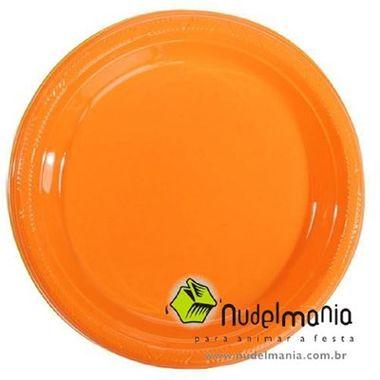 Prato-Color-22-cm-plastico-descartavel-cor-LARANJA-pacote-10-unidades