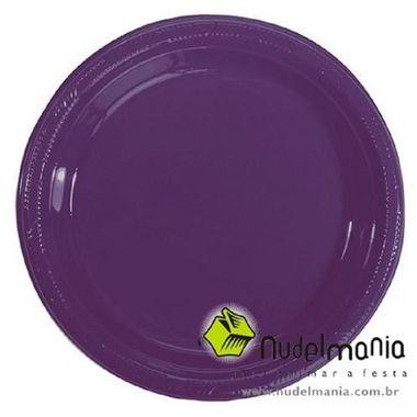 Prato-Color-22-cm-plastico-descartavel-cor-ROXO-pacote-10-unidades