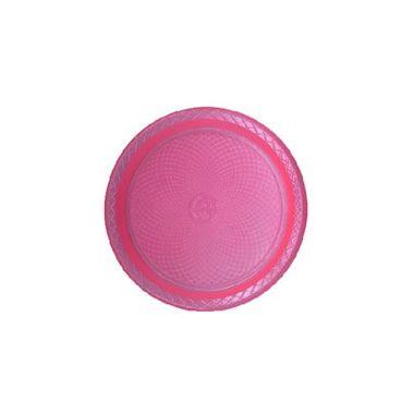 Prato-Forfest---18-cm---plastico-descartavel---Rosa-Neon---pacote-10-unidades
