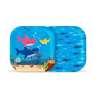 Prato-Quadrado-Family-Shark---18-cm---papel-cartao---08-unidades