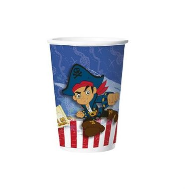 Copo-Jake-e-os-Piratas---papel---180-ml---pacote-08-unidades