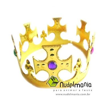 Coroa-Rei-Salomao---plastico---Prata-e-Dourada---modelos-sortidos---unidade