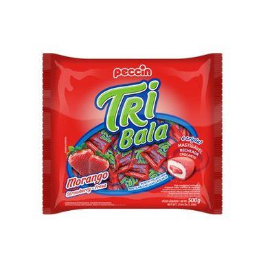 Tri-Bala-Mastigavel-Recheada-e-Drageada---sabor-Morango---embalagem-500-gr