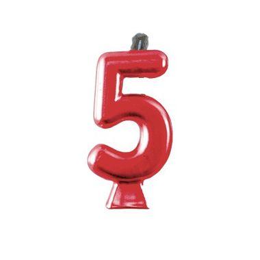 Vela-Metallic-Vermelha---Numero-5---unidade