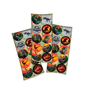Adesivo-Redondo---Jurassic-World-2---3-cartelas-com-10-unidades