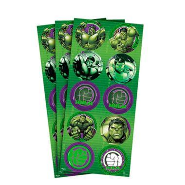 Adesivo-Decorativo-Hulk-Animacao---Redondo---03-cartelas-com-10-adesivos-cada