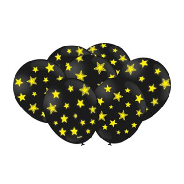 Balao-Festa-Neon-9----Latex---Preto-com-Amarelo---pacote-25-unidades