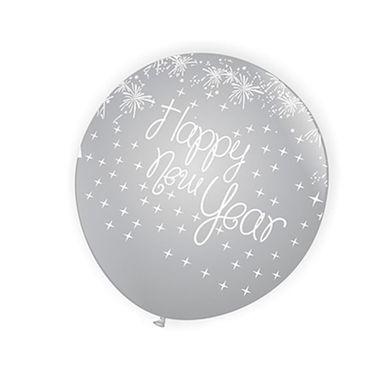 Balao-Tematico-9---Happy-New-Year----Prata-com-estampa-Branca---latex---25-unidades